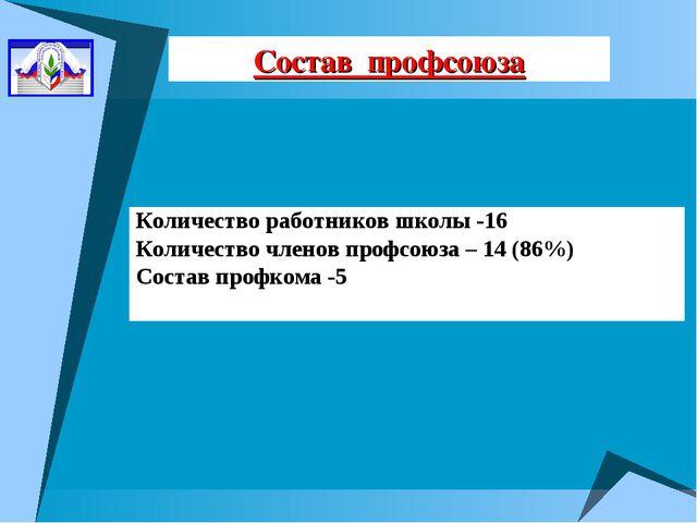 Состав профсоюза Количество работников школы -16 Количество членов профсоюза...