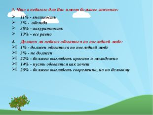 3. Что в педагоге для Вас имеет большее значение: 11% - внешность 3% - одежд