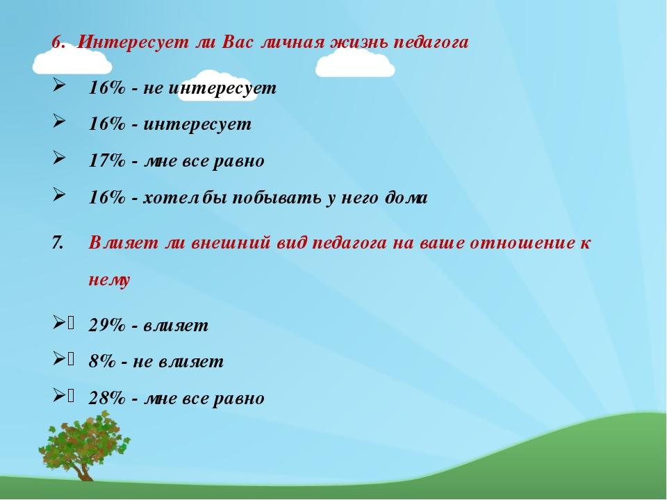 6. Интересует ли Вас личная жизнь педагога 16% - не интересует 16% - интерес...
