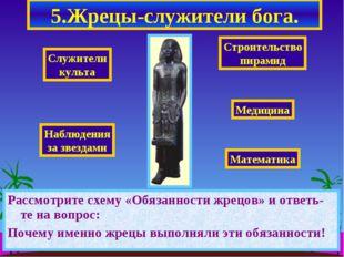 5.Жрецы-служители бога. Рассмотрите схему «Обязанности жрецов» и ответь-те на