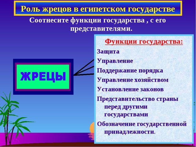 Роль жрецов в египетском государстве Соотнесите функции государства , с его п...