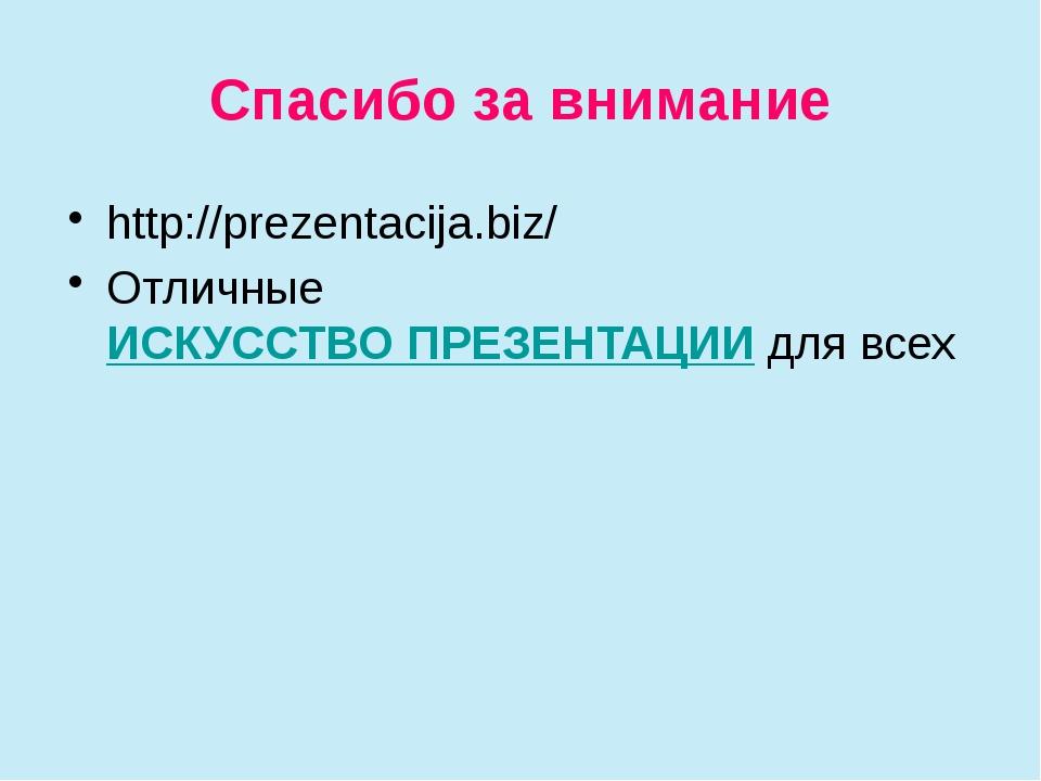 Спасибо за внимание http://prezentacija.biz/ Отличные ИСКУССТВО ПРЕЗЕНТАЦИИ д...