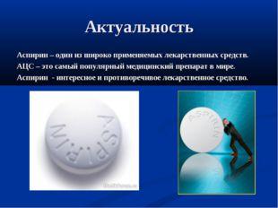 Актуальность Аспирин – один из широко применяемых лекарственных средств. АЦС