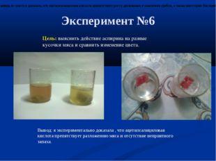 Эксперимент №6 Цель: выяснить действие аспирина на разные кусочки мяса и срав