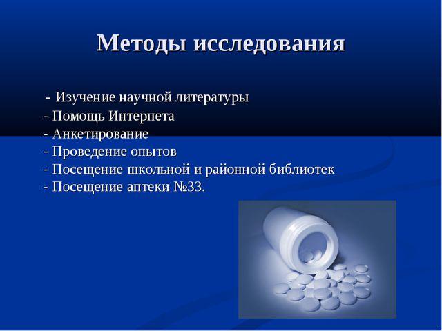 Методы исследования - Изучение научной литературы - Помощь Интернета - Анкети...
