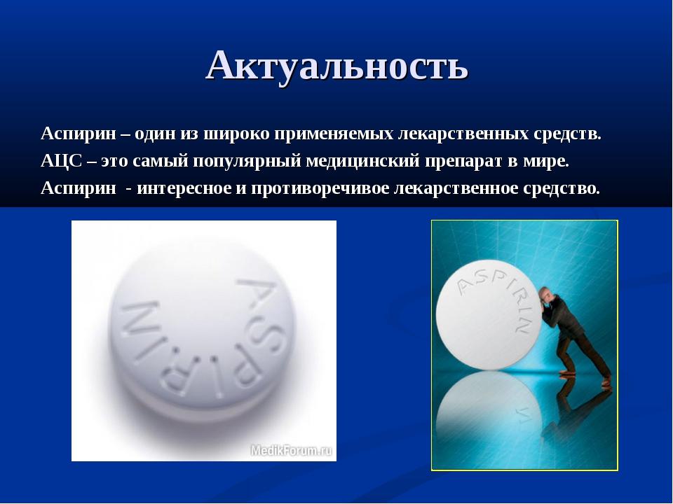 Актуальность Аспирин – один из широко применяемых лекарственных средств. АЦС...