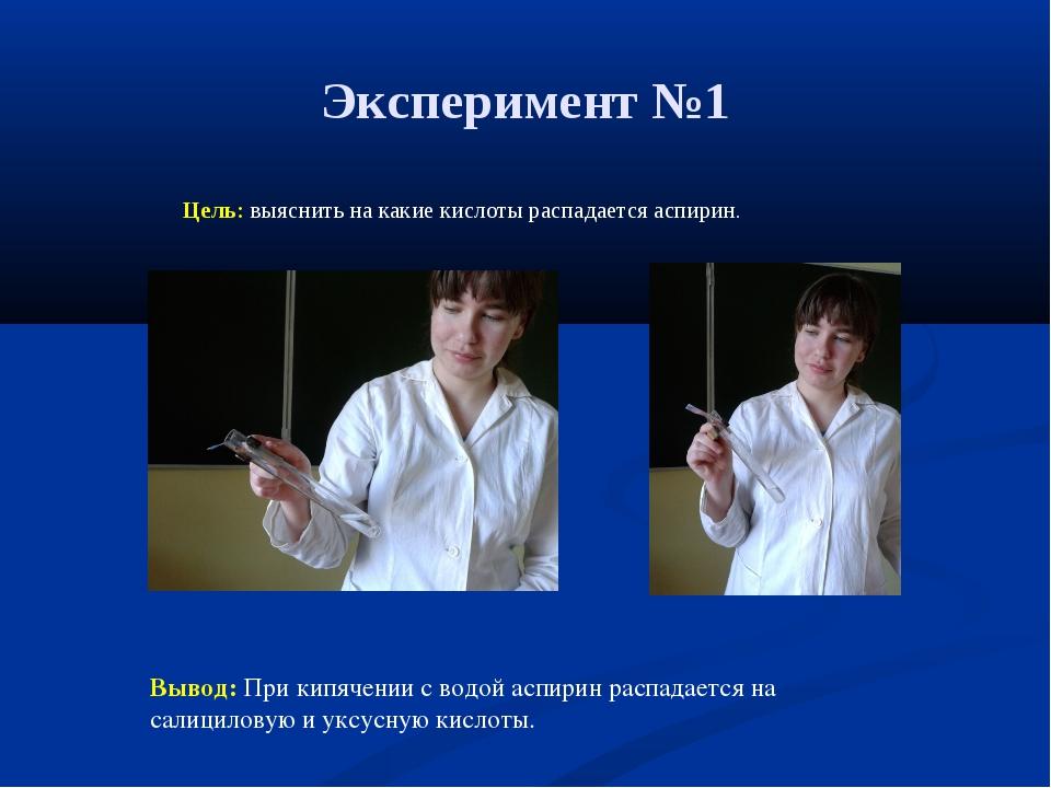 Эксперимент №1 Цель: выяснить на какие кислоты распадается аспирин. Вывод: Пр...