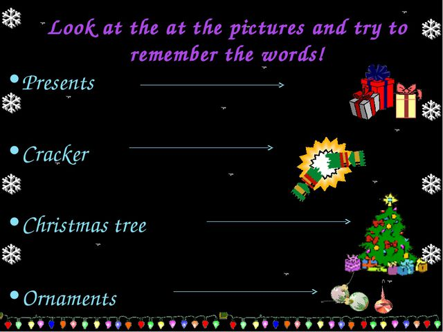 Look at the at the pictures and try to remember the words! Presents Cracker C...
