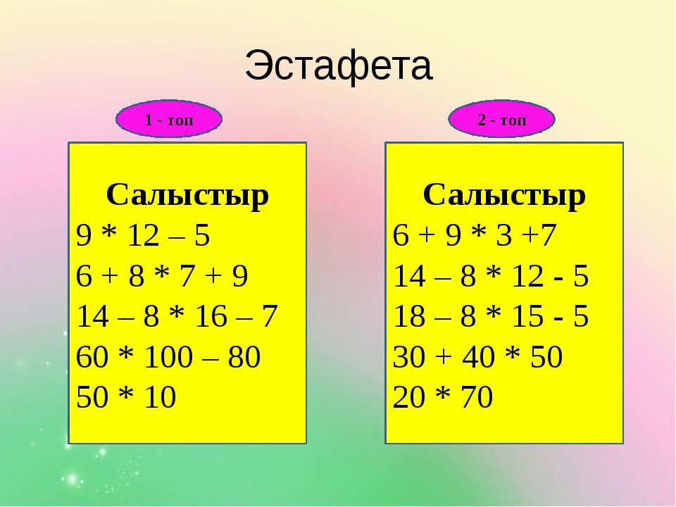 Эстафета Салыстыр 9 * 12 – 5 6 + 8 * 7 + 9 14 – 8 * 16 – 7 60 * 100 – 80 50 *...