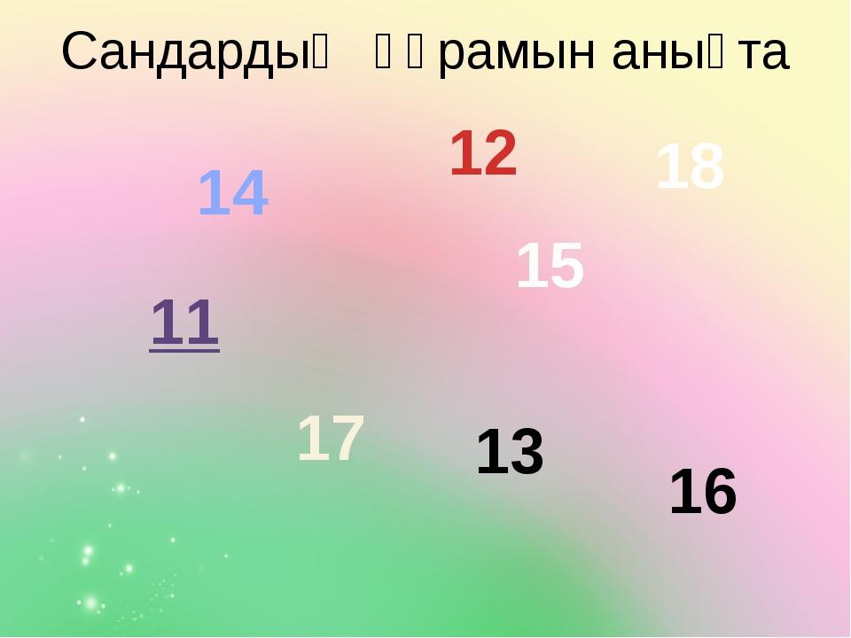 Сандардың құрамын анықта 11 12 13 14 15 16 17 18