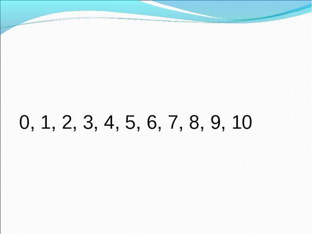 0, 1, 2, 3, 4, 5, 6, 7, 8, 9, 10