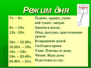 Режим дня 7ч. – 8ч. 8ч. – 13ч. 13ч. -16ч. 16ч. – 16.30ч. 16.30ч. – 18ч. 18ч.