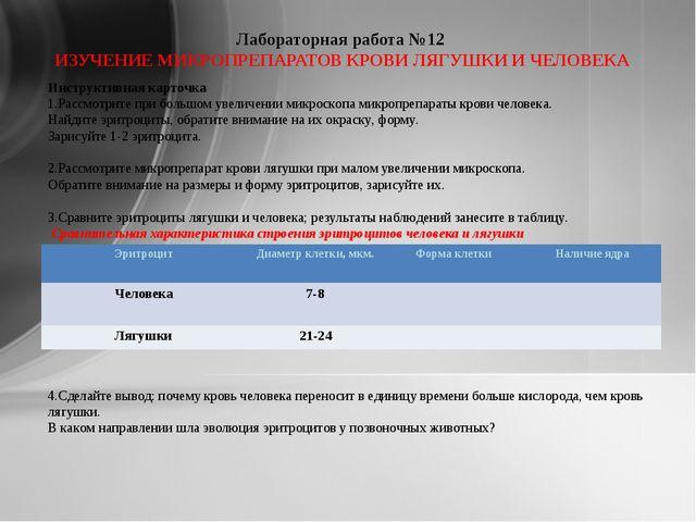 Лабораторная работа №12 ИЗУЧЕНИЕ МИКРОПРЕПАРАТОВ КРОВИ ЛЯГУШКИ И ЧЕЛОВЕКА Ин...