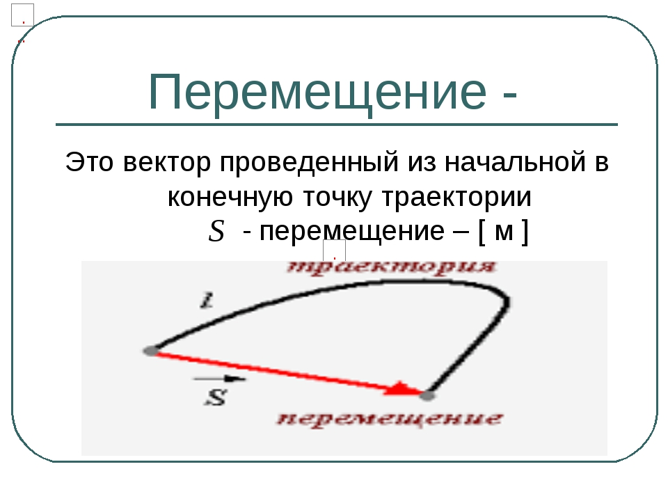 Перемещение - Это вектор проведенный из начальной в конечную точку траектории...