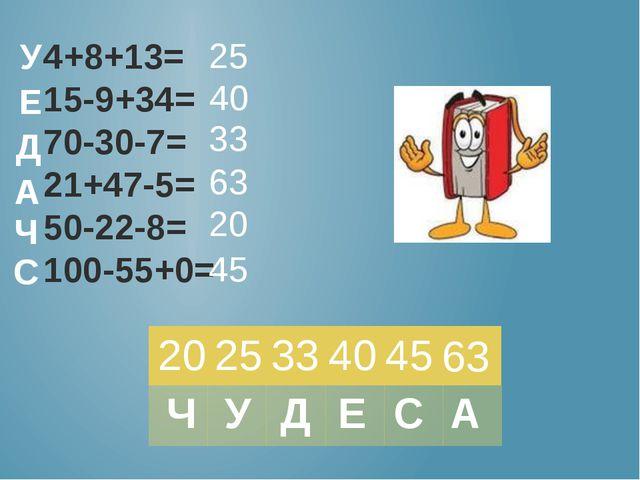 4+8+13= 15-9+34= 70-30-7= 21+47-5= 50-22-8= 100-55+0= 25 40 33 63 20 45 У Е Д...