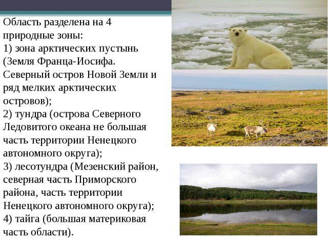 Область разделена на 4 природные зоны: 1) зона арктических пустынь (Земля Фр...