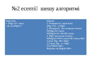 №2 есептің шешу алгоритмі Берілгені ν (Mg) =2.5моль т/к:m (MgO)-? Шешуі: 1. Р