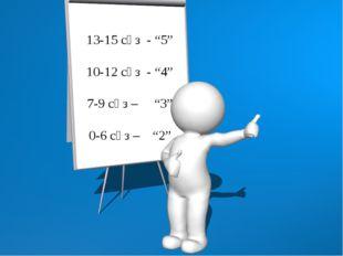 """13-15 сөз - """"5"""" 10-12 сөз - """"4"""" 7-9 сөз – """"3"""" 0-6 сөз – """"2"""""""