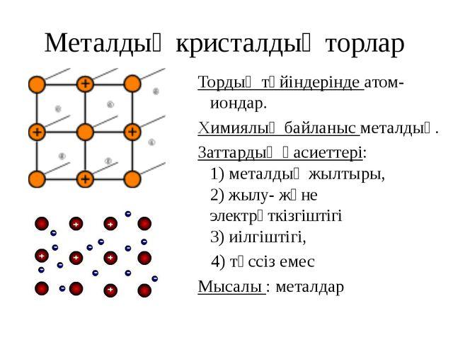 Металдық кристалдық торлар Тордың түйіндерінде атом-иондар. Химиялық байланыс...