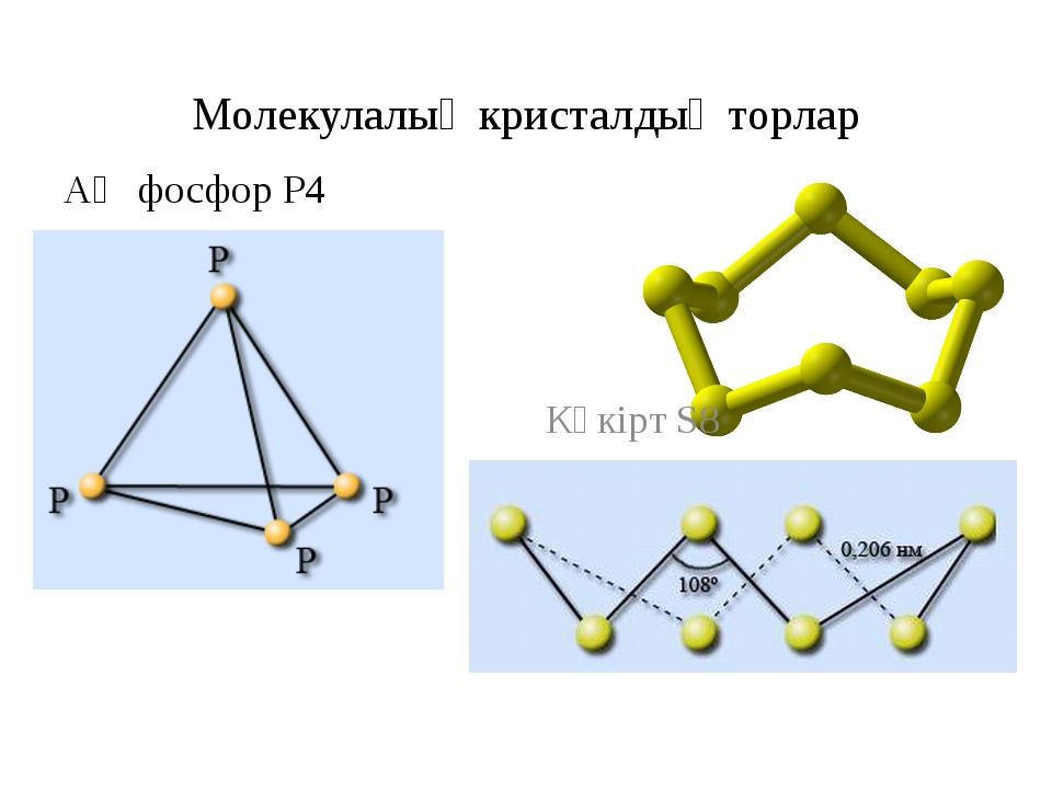 Молекулалық кристалдық торлар Ақ фосфор Р4 Күкірт S8