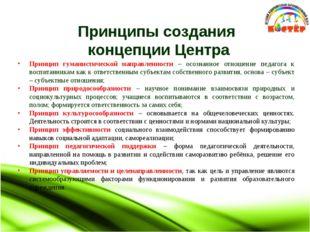 Принципы создания концепции Центра Принцип гуманистической направленности –