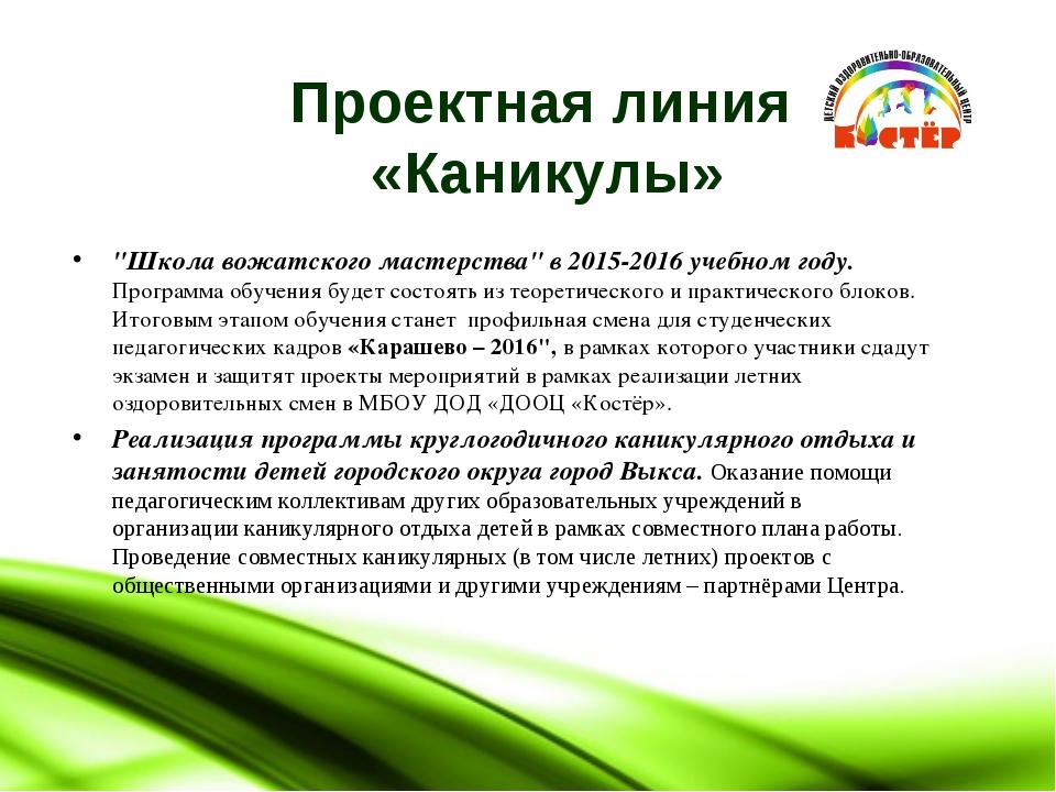 """Проектная линия «Каникулы» """"Школа вожатского мастерства"""" в 2015-2016 учебном..."""