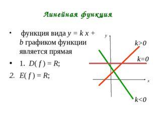 Линейная функция функция вида y = k х + b графиком функции является прямая 1.