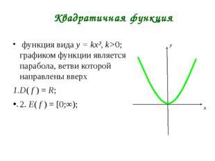 Квадратичная функция функция вида y = kx², k>0; графиком функции является па
