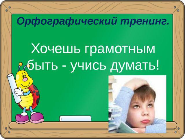 Орфографический тренинг. Хочешь грамотным быть - учись думать!