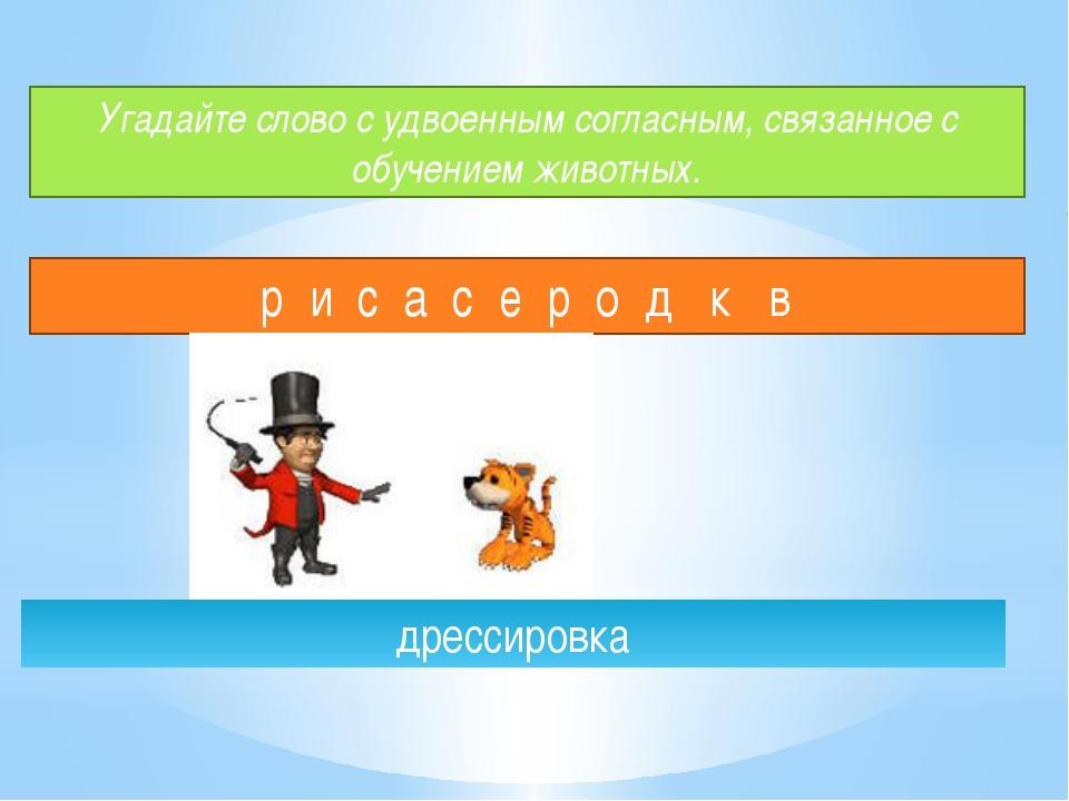 Угадайте слово с удвоенным согласным, связанное с обучением животных. р и с а...