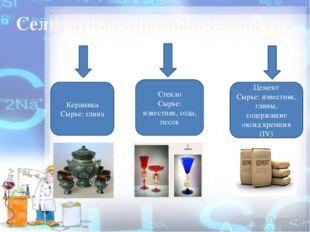 Селикатная- промышленность Керамика Сырье: глина Стекло Сырье: известняк, со