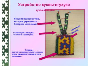 Устройство куклы-нгухуко Голова куклы-женщины состоит из клюва утки. Косы из