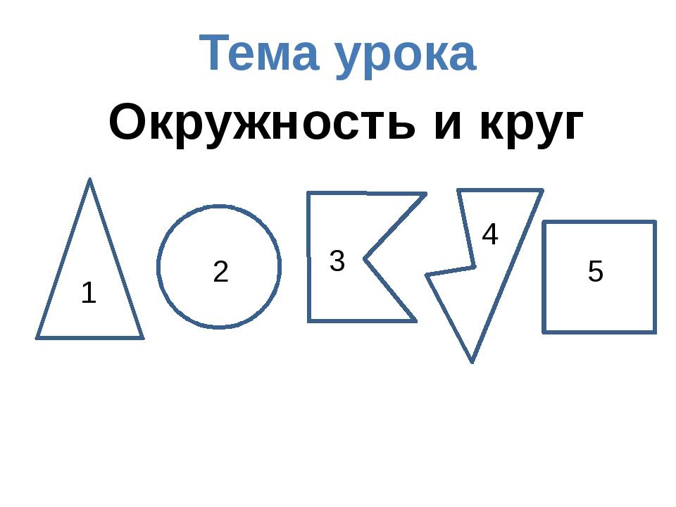 2 Окружность и круг Тема урока