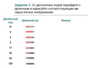 Задание 3. От десятичных кодов перейдите к двоичным и нарисуйте соответствующ