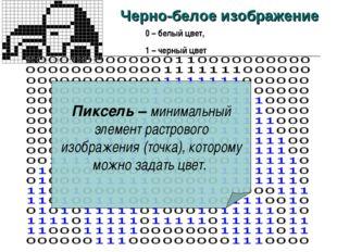 * Черно-белое изображение 0 – белый цвет, 1 – черный цвет Пиксель – минимальн
