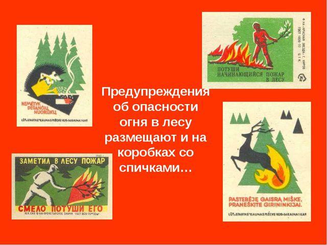 Предупреждения об опасности огня в лесу размещают и на коробках со спичками…