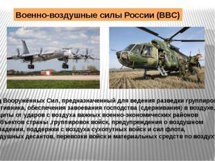 Военно-воздушные силы России (ВВС) Вид Вооружённых Сил, предназначенный для в