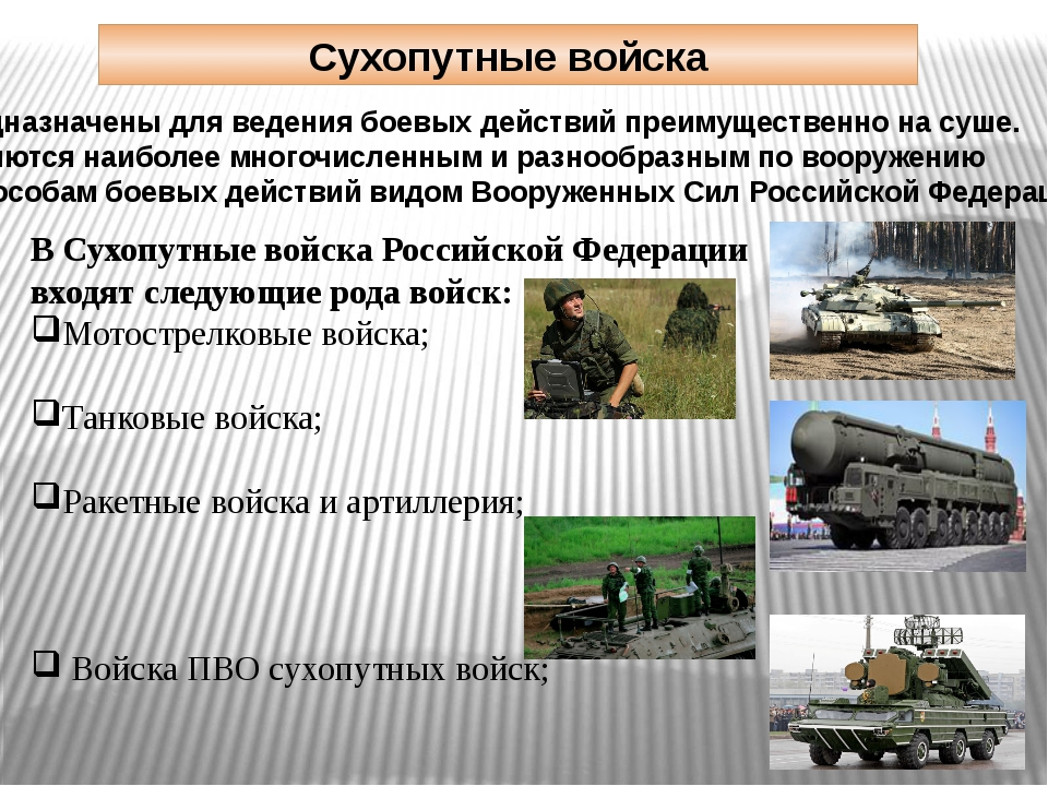 Сухопутные войска Предназначены для ведениябоевых действийпреимущественно н...