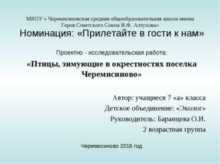 МКОУ « Черемисиновская средняя общеобразовательная школа имени Героя Советско