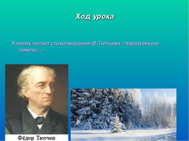 Ход урока Ученик читает стихотворение Ф.Тютчева «Чародейкою зимою…»