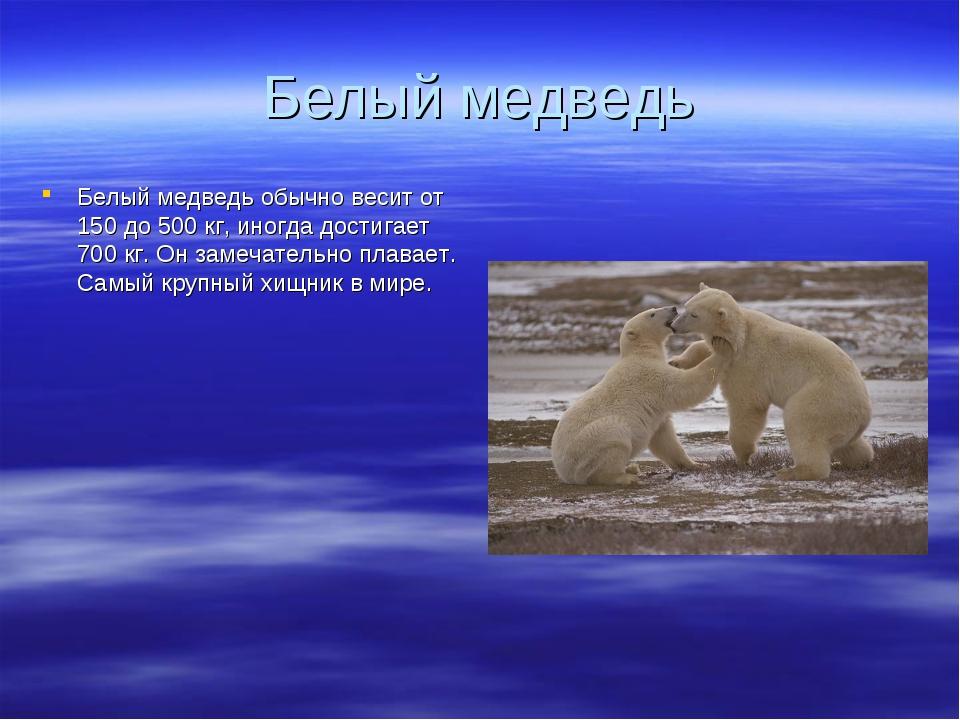 Белый медведь Белый медведь обычно весит от 150 до 500 кг, иногда достигает 7...
