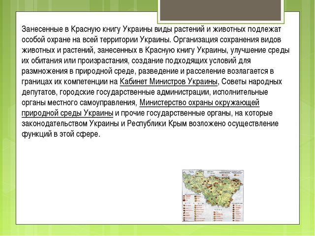 Занесенные в Красную книгу Украины виды растений и животных подлежат особой о...