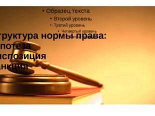 Структура нормы права: гипотеза диспозиция санкция