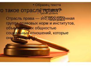 Что такое отрасль права? Отрасль права — это обособленная группа правовых нор