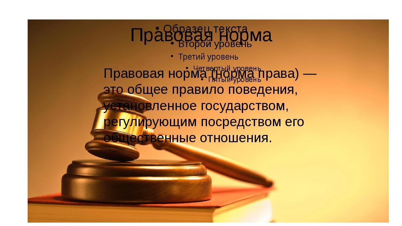 Правовая норма Правовая норма (норма права) — это общее правило поведения, ус...