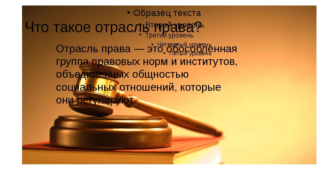 Что такое отрасль права? Отрасль права — это обособленная группа правовых нор...