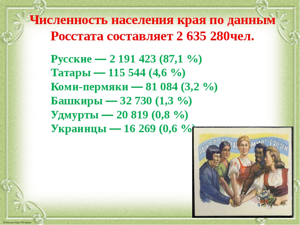 Численность населения края по данным Росстата составляет 2 635 280чел. Русск...
