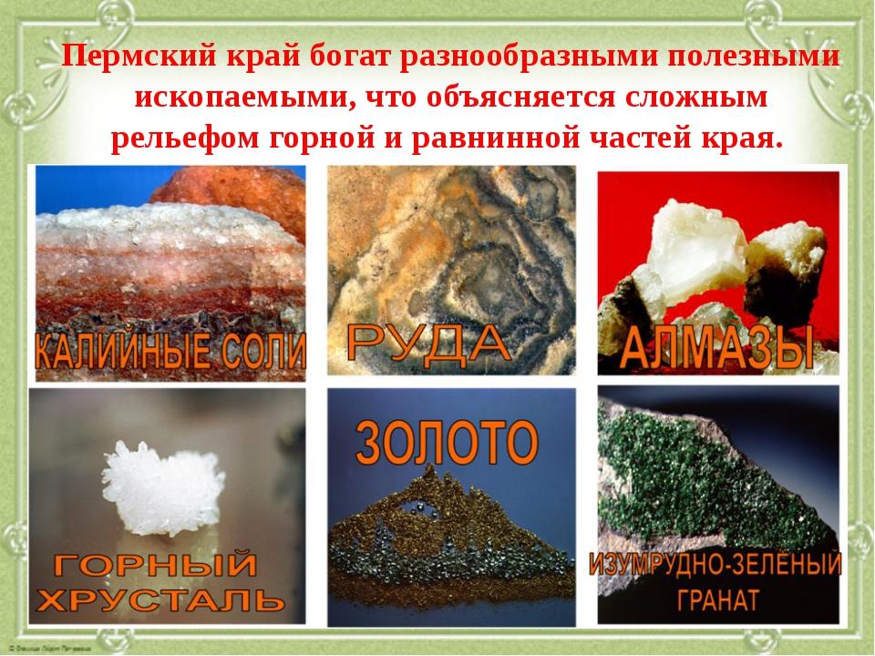 Пермский край богат разнообразными полезными ископаемыми, что объясняется сло...