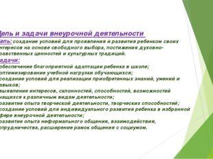 Цель и задачи внеурочной деятельности Цель:создание условий для проявления и