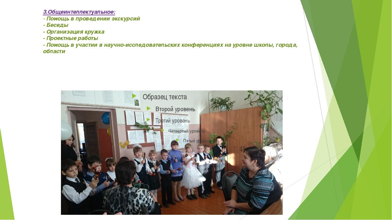 3.Общеинтеллектуальное: - Помощь в проведении экскурсий - Беседы - Организаци...